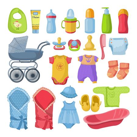 swaddle: Set of different newborn baby elements. Illustration