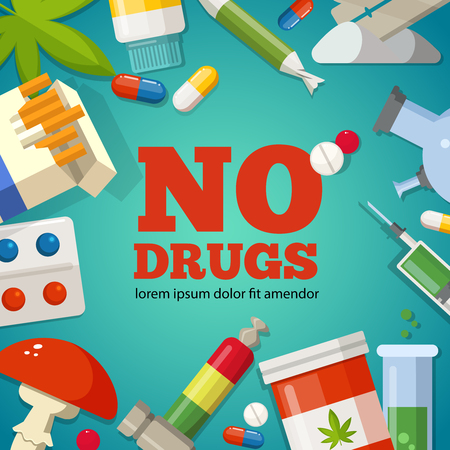 Poster with promotion of the health. Pharmaceutical pictures. No drugs and narcotic stop, danger and forbidden, marijuana ecstasy and illicit illustration Illustration