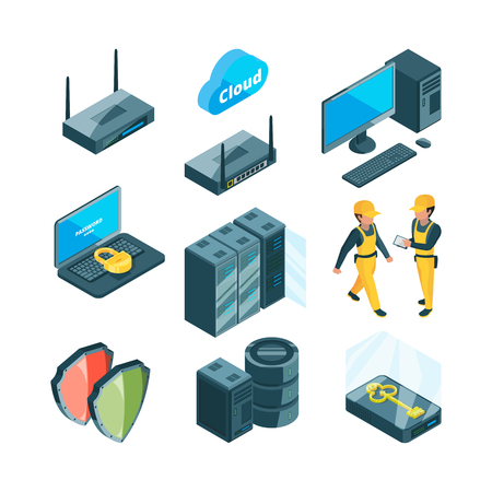 Isometric icon set of different electronic systems for datacenter. Network datacenter and connection device computer, vector illustration