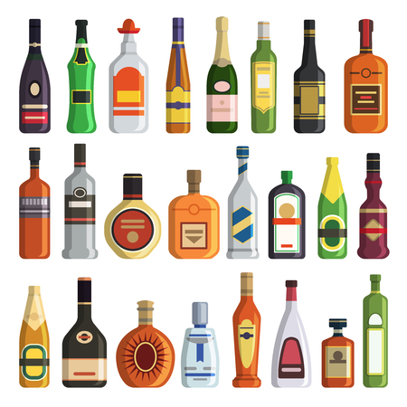 Different alcoholic drinks in bottles. Alcohol bottle drink whiskey and champagne, vodka and martini, brandy and rum, vector illustration