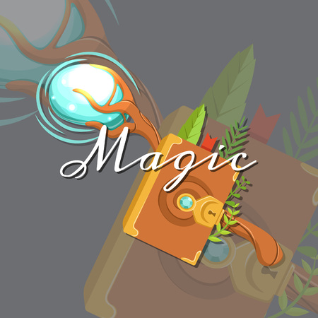 Fantasy cartoon style game design medieval crossed magic staff and spell book elements.