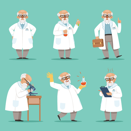madness: Character of old scientist or chemist. Mascot design of crazy professor. Male teacher. Vector pictures set