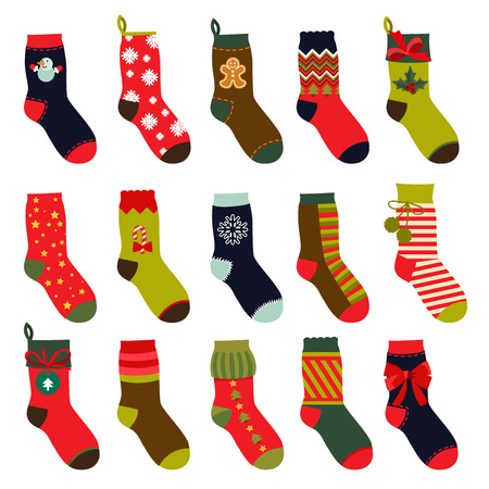 Set of christmas socks. Vector illustrations in flat style 向量圖像