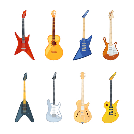 Acoustic and rock guitar. Vector illustrations in flat style