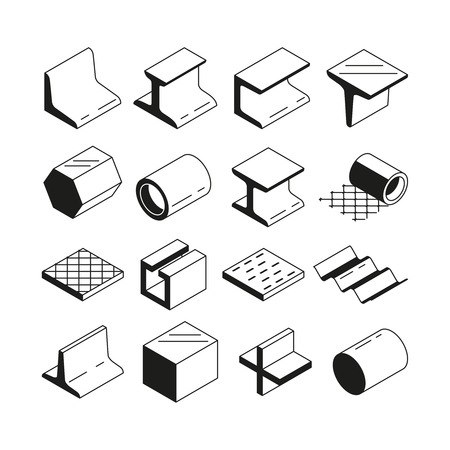 Icons set in monochrome. Metallurgy production. Vector pictures of steel isolate on white Illustration
