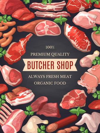 Food pictures set. Illustrations of meat. Poster for butcher shop Stock Illustratie