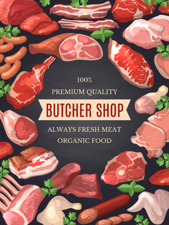 Food pictures set. Illustrations of meat. Poster for butcher shop Ilustrace