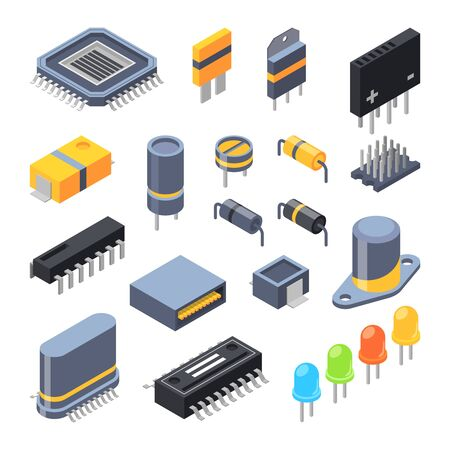 Electrical components for electronic parts vector illustration.