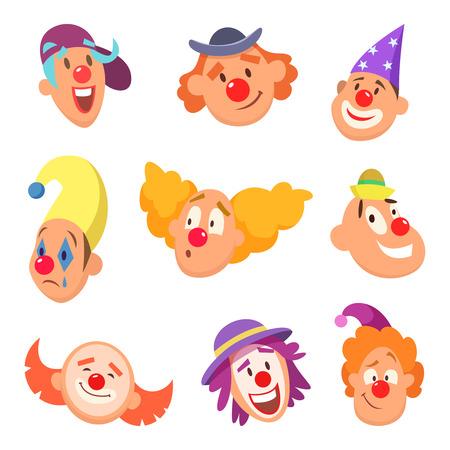 Avatar set grappige clowns met verschillende emoties.