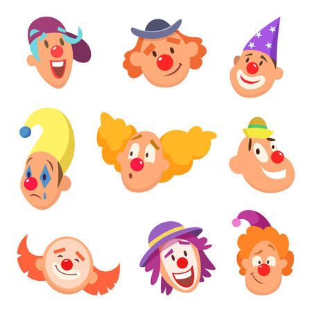 Avatar set of funny clowns with different emotions. Ilustracja