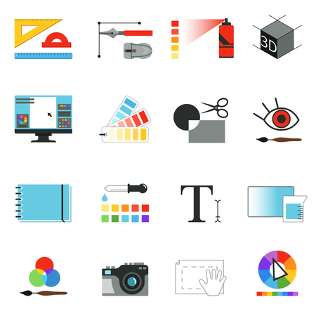Tools voor grafische of webontwerpers. Verschillende werkelementen voor grafische kunstenaars. Vectorafbeeldingen instellen isoleren. Stock Illustratie