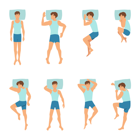 Different positions of sleeping man. Top view vector illustrations Stock Photo