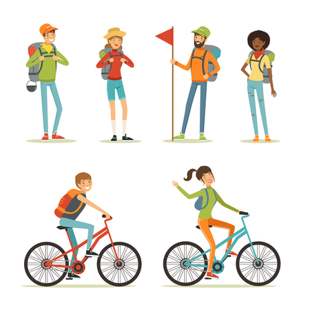 Family tourism. People hiking. Young people travelling. Cartoon illustration of camping