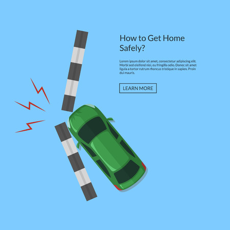Vector car accident with footpath top view from above illustration. Transport crash auto