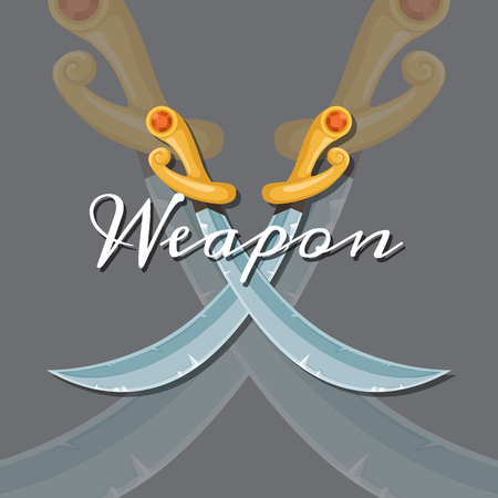 Vector fantasy cartoon style game design medieval crossed saber looking down elements with lettering and shadows illustration