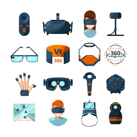 Different symbols of virtual reality vector icons set in cartoon style