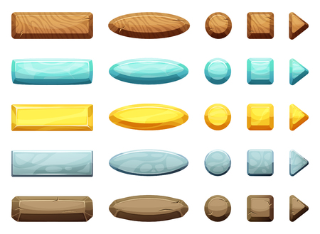 Horizontal, circle, triangle and square shapes of cartoon buttons. Illustration for game design projects Illustration