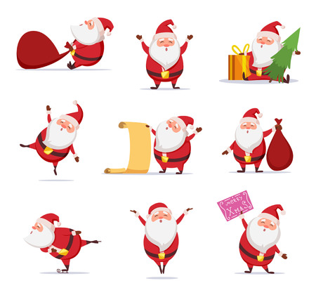 Christmas symbols of funny cute santa. Different characters set in dynamic poses Иллюстрация