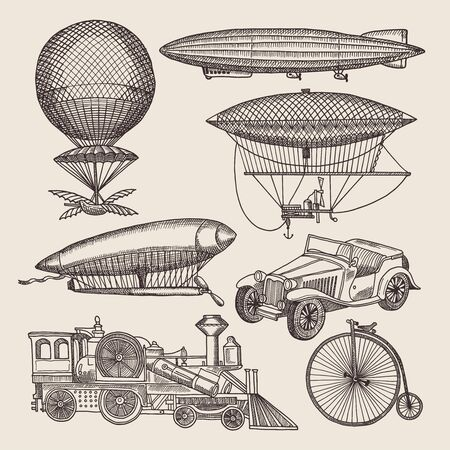 Illustrations of different retro transport in hand drawn design