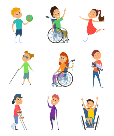 Disabled people. Wheelchair for kids. Children with disability. Vector characters in cartoon style Illustration