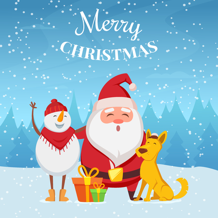 Christmas background with funny characters. Santa, snowman and yellow dog