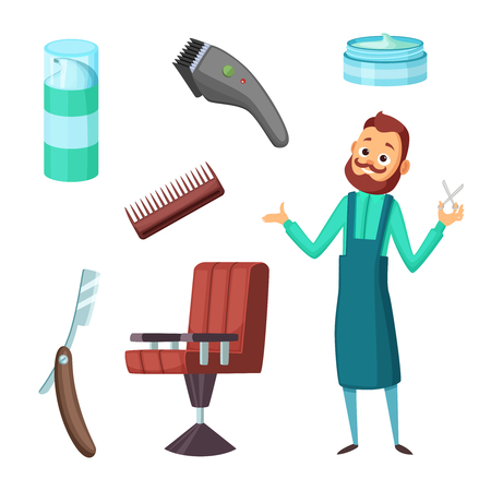 Barber at work and different illustrations of barbershop tools. Vector collection in cartoon style Illustration