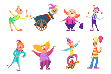 Circus characters. Funny clowns in action poses Stock Photo