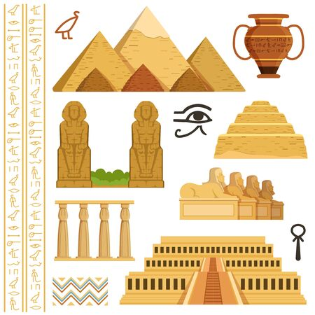 Architectural landmark of egypt. Different historical objects and symbols