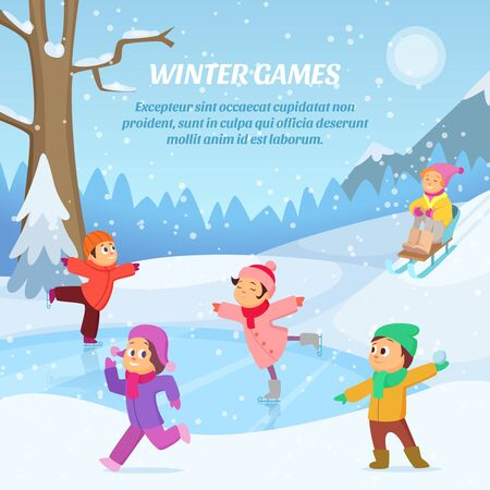 Kids playing in winter games on playground. Outdoors cartoon illustration Stock Photo