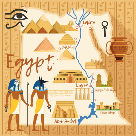 Egypt famous landmarks illustration.