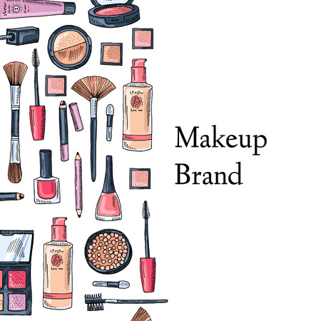 Hand drawn makeup products illustration. Illustration