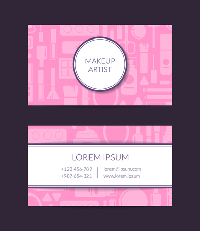 Vector business card template for beauty brand or makeup artist with flat style makeup and skincare Illustration