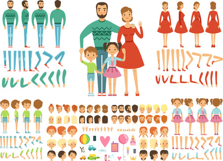 Duża szczęśliwa rodzina. Matka, ojciec i dzieci. Zestaw do tworzenia maskotek. Śmieszna para z dziećmi. Ilustracje wektorowe