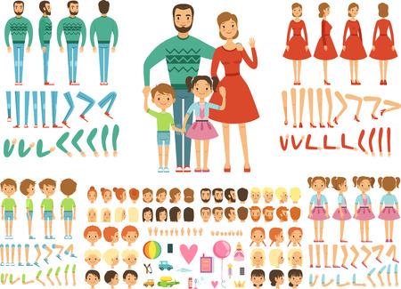 Grande famille heureuse. Mère, père et enfants. Kit de création de mascotte. Couple drôle avec des enfants. Vecteurs
