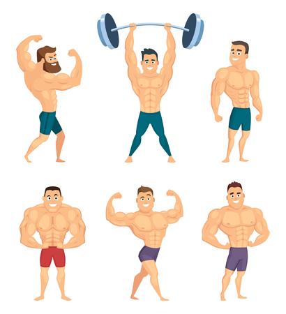 Stripfiguren van sterke en gespierde bodybuilders poseren in verschillende poses