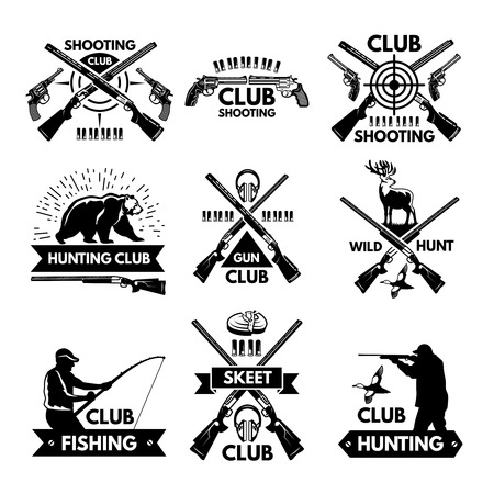 Labels and badges set for hunting club. Monochrome pictures of different animals and weapons for hunters Stok Fotoğraf