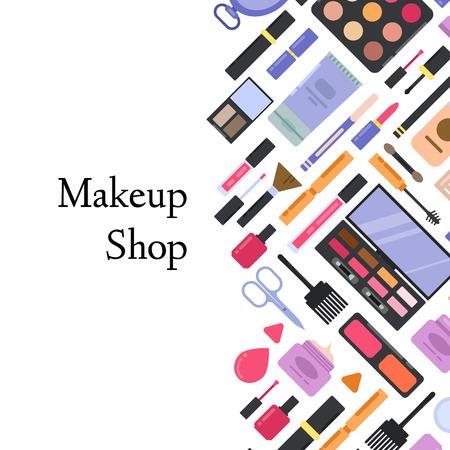 Flat style makeup and skincare illustration. Vektorové ilustrace