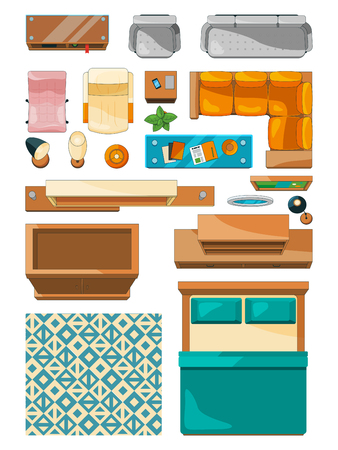 Different icons of furniture top view. Vector illustrations for create layout of apartment Иллюстрация
