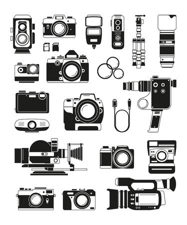 Câmeras de vídeo e foto e acessórios profissionais diferentes. Ilustrações monocromáticas de vetor