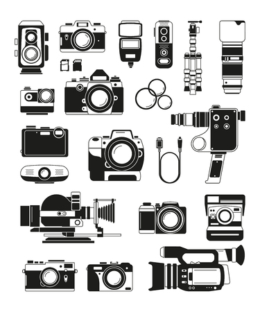 Video and photo cameras and different professional accessories. Vector monochrome illustrations