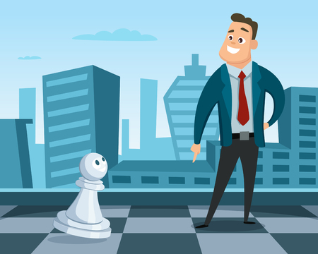 Businessman standing on a chess board. Concept illustration of business strategy. Leadership and excellence