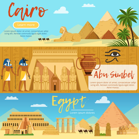 Horizontal banners of egypt landscape. Vector pictures set in cartoon style Reklamní fotografie