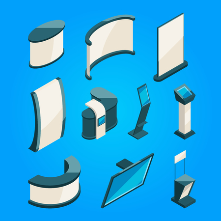 Expo trading. Product stands for exhibition. Isometric vector pictures