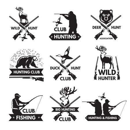 Duck, bear, deer and other animals for hunting. Monochrome labels set with place for your text Vektorové ilustrace