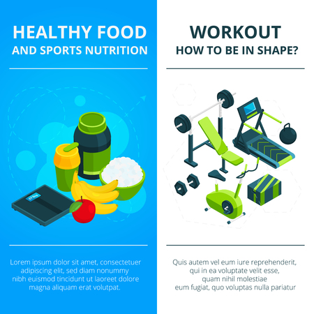Banners set with illustrations of gym equipment and healthy food. Design template with place for your text Vectores