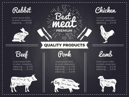 Hand drawn illustrations of domestic animals. Design template of menu for butcher shop. Pictures on black chalkboard