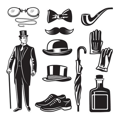 Illustrations monochromes de style victorien pour gentleman club. Set d'images vectorielles