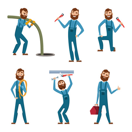 Funny character of repairman or plumber in different poses. Vector mascot design Imagens - 90627611