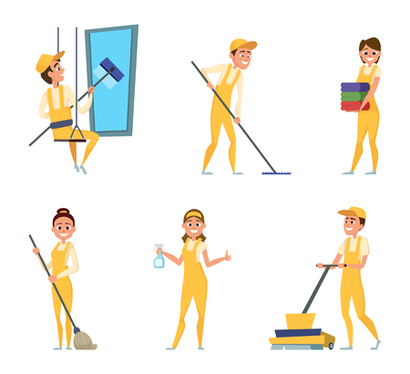 Team workers of cleaning service. Set of different characters in special clothing Illustration