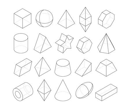 Monoline illustrations. Frames of different geometry shapes Vettoriali